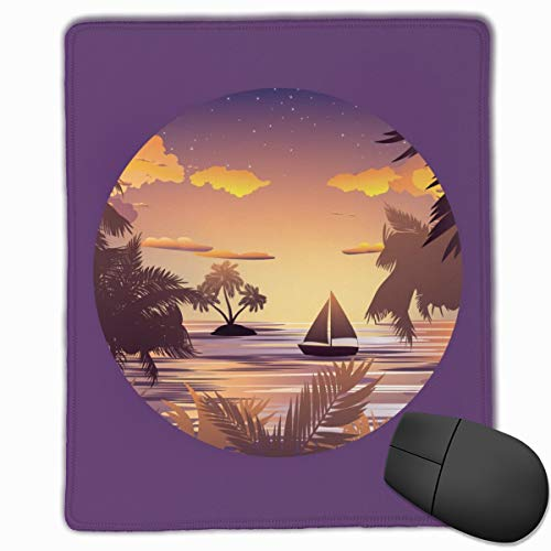 AVBER Mouse Pad Anti Slip Tropical Island and Sailboat at Sunset Mouse Mat for Desktops Computer PC and Laptops, Novelty Mousepad for Office and Home]()