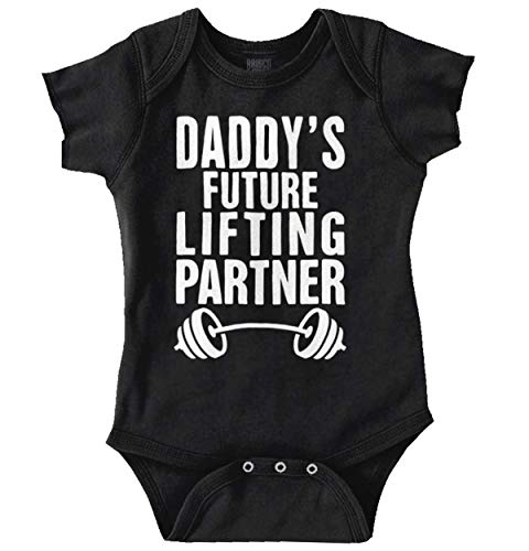 Brisco Brands Daddys Future Lifting Partner Athletic Baby Romper Bodysuit Black