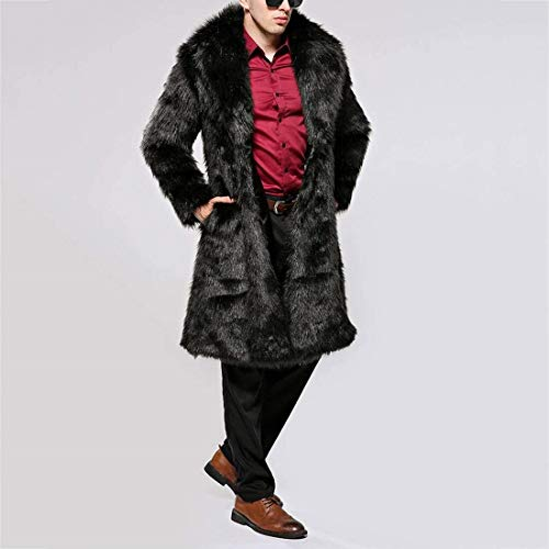 Jacket Fur Faux Coat Fur Fur Coat Long Faux Outwear with Coat Apparel Art Fur Pocket Schwarz Mens Jacket WUOP8waUqp