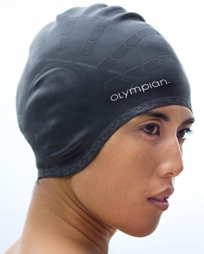 NewYu Fitness Swim Cap - Womens Swimming Caps for Long Hair - Adult Youth Size - Olympian Comfort Performance Plus Series (Black)
