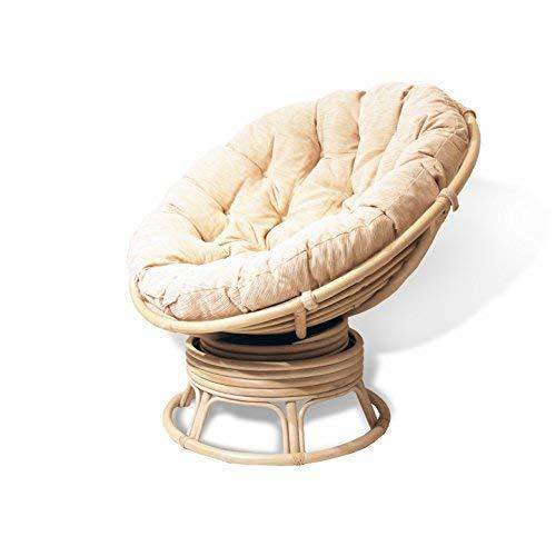 (Rattan Wicker Swivel Rocking Round Papasan Chair with Cushion White Wash)