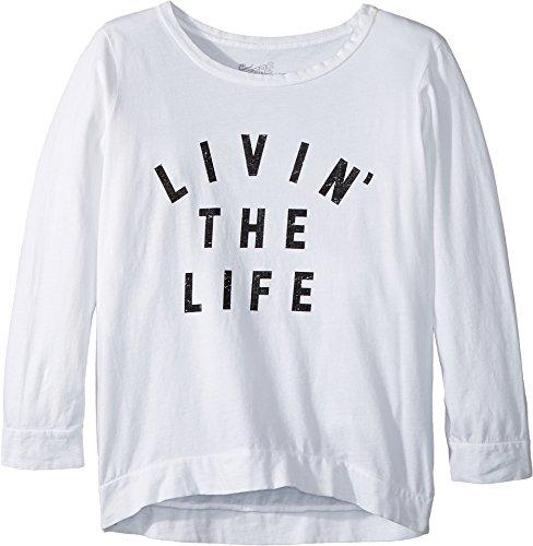 The Original Retro Brand Kids Girl's Livin' The Life 3/4 Pullover (Big Kids) White Medium by The Original Retro Brand Kids