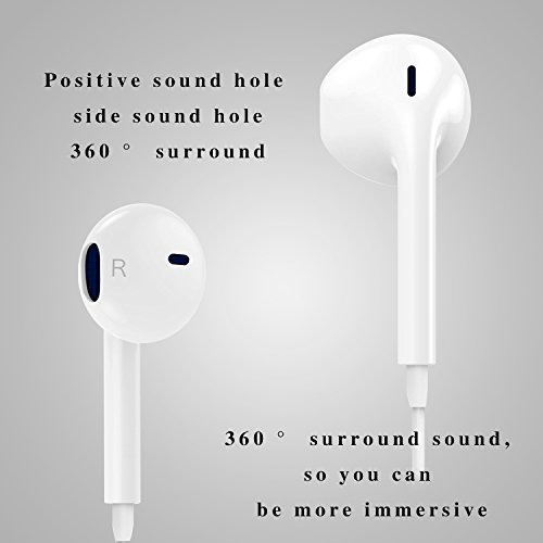 Cafetec - [2 Pack][White][Premium Earbuds][Stereo Headphones][Noise Isolating][Headset Made] - Earphones Microphone - (Model iPhone iPod iPad) by Cafetec (Image #1)