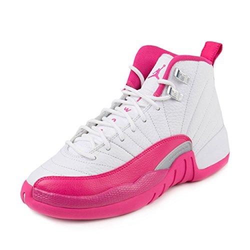 Air Jordan 12 Retro XII GG '' Vivid Pink'' 510815 109 White/Vivid Pink-Metallic Silver size 5.5Y= Women size 7/7.5 by NIKE