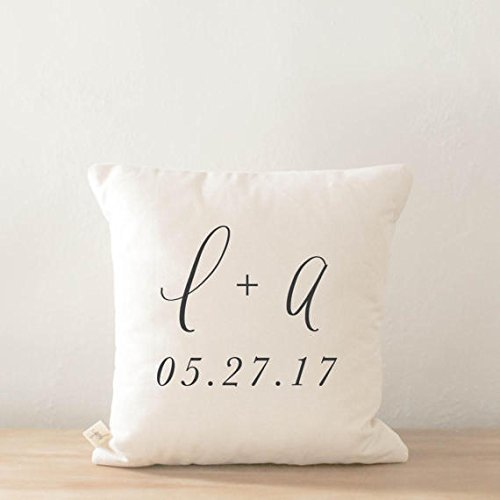 Personalized Throw Pillow Cover - Two Initials and Special Date, wedding, engagement gift, newlywed, wedding shower, throw, cushion cover