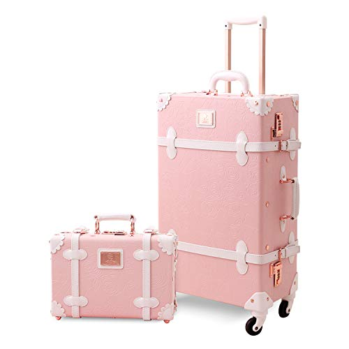 Mosslanda Vintage Suitcase Set 20 inch Carry on Spinner Luggage with 12 inch Handbag for Women (Embossed Pink)