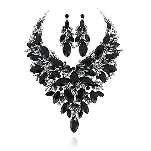 SP Sophia Collection Austrian Crystal Women's Peacock Flair Necklace and Earrings Jewelry Set in Rhodium Black