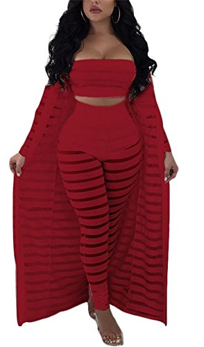 VLUNT Women 3 Piece Outfit Tube Crop Top Long Kimono Cardigan Cover Up and Bodycon Pants Suit Set, ()