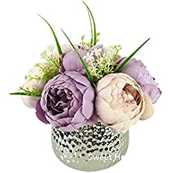 Sweet Home Deco Silk Peony Arrangement in Silver Ceramic Vase Table Flower Home Decor Wedding Centerpiece (Lavender)