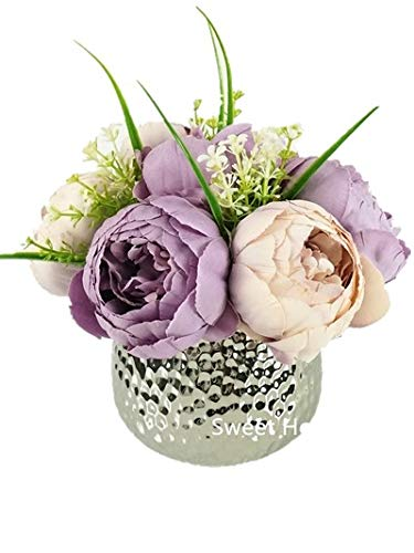 Sweet Home Deco Silk Peony Arrangement in Silver Ceramic Vase Table Flower Home Decor Wedding Centerpiece (Lavender) -
