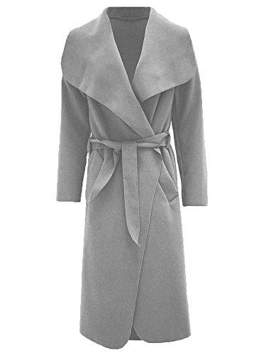 Grey Donne Cascata Cintura Sciarpa Celebrità Con Drappo Janisramone Manica Moda Abaya Giacca Lunga 7qxBHFq