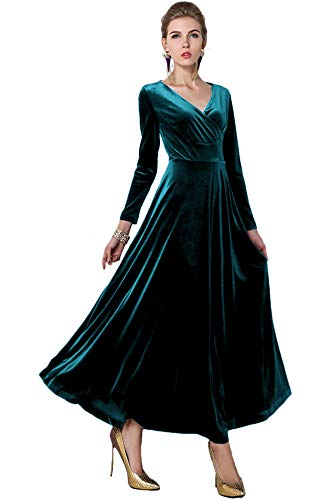 Urban CoCo Women Long Sleeve V-Neck Velvet Stretchy Long Dress (Large, Lyons Blue)