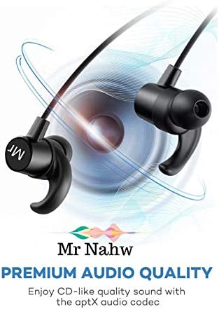 Wireless Bluetooth Headphones 4.1 by Mr. Nahw, Sport Magnet Sweatproof in Ear Earbuds with Built in Mic IPX5 Waterproof, CVC 6.0 Noise Cancellation Technology, 8 Hours Playtime, Multi-Point Function