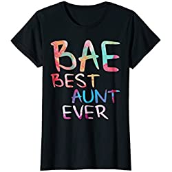Womens BAE Best Aunt Ever T-Shirt Funny Auntie Gift Shirt XL Black