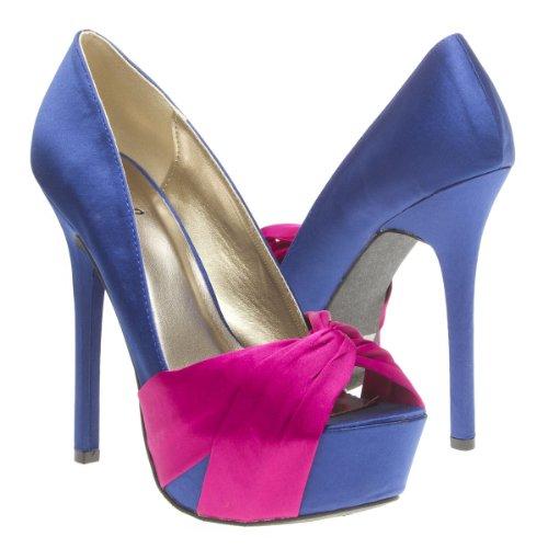 Qupid Womens MIRIAM70 Open Peep Toe Fuchsia Pink Bow Knot Party High Heel Platform Stiletto Pump Sandal Shoes, Navy Blue Santin, 6.5 B (M) US -