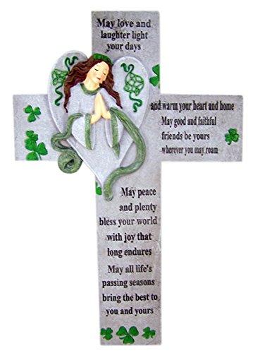 Irish Blessing Guardian Angel Resin Celtic Wall Cross Home Decor, 13 3/4 Inch Irish Home Blessing Cross