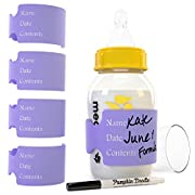 The ORIGINAL silicone write & reuse baby bottle labels- [AVAILABLE IN 6 COLORS] 4 labels and free dry erase marker (Purple)