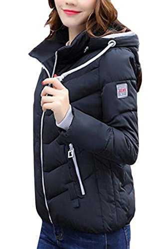 Women's Winter amp;W Sleeve amp;S M Puffer Coat Black Shorts Padded Down Long SxHwwOEtq