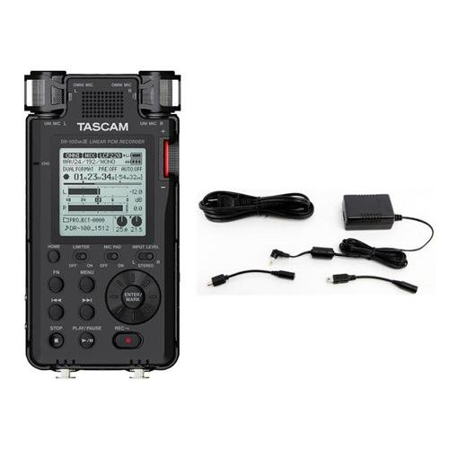 Tascam DR-100MKIII Stereo Linear Portable PCM Recorder - Bundle PS-P520E AC Adapter for Recorders