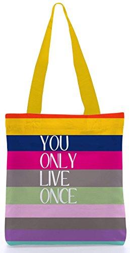 Snoogg Yolo 13.5 x 15 Zoll-Shopping-Dienstprogramm-Einkaufstasche aus Polyester-Segeltuch gemacht
