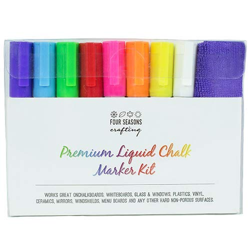Four Seasons Crafting Premium Liquid Chalk Markers (Bundle) Includes: 8 Markers with Reversible Tips - 12 Chalkboard Label Stickers - 1 Anti-Static Fiber Cloth Eraser and 2 Replacement Marker Tips