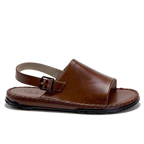 Mens 82623 Leather Lined Sling Back Open Toe Slides Sandals Cognac 1Mw8yTV