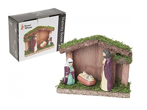 Toyland Wooden Nativity Scene - Three Figures Included- Christmas Decorations