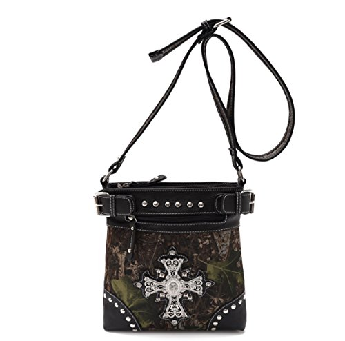 Camo Black Studded Purse Bling Cross Hipster Messenger Bag Passport Carrier Swingpack Purse Crossbody Best Unique Cool Christian Religious Valentines Day Gift Idea Young Ladies Teen Girl