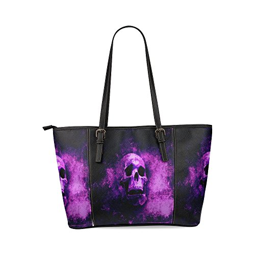 InterestPrint Awesome Spooky Halloween Grunge Background with Scary Skull Women Large Leather Tote Top Handle Shoulder Bags -
