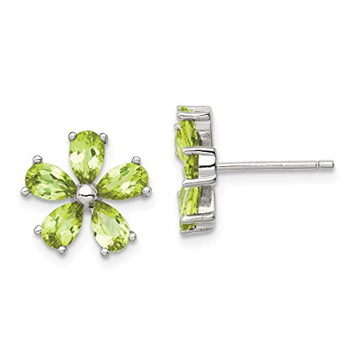 Flower Post 11 Mm (925 Sterling Silver Green Peridot Floral Post Stud Ball Button Earrings Flower Gardening Fine Jewelry For Women Gift Set)