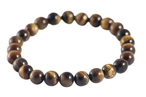 Maya Bracelets Marble Lava Stone Elastic Bracelet (Brown Tiger Eye) -