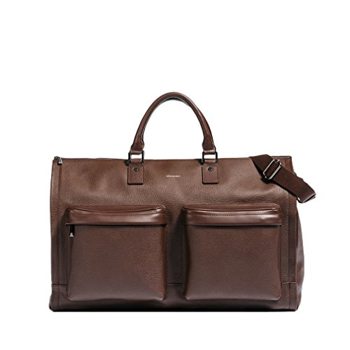 Hook & Albert Leather Garment Weekender Bag (Brown) by HOOK & ALBERT