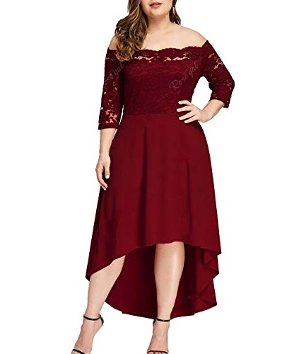 Beaurex Women's Floral Lace Overlay Top Plus Size Pleated Off Shoulder Cocktail Party Midi Dresses(Wine, X-Large) ()