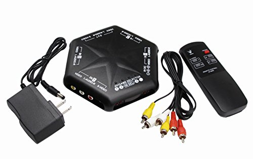 RCA Splitter with 4-Way Audio Video,4 Port Input 1 Output Audio Video AV RCA Switch 4 ways Selector Splitter Box for DVD STB Game Consoles (4 in 1 out-remote control) - Av 4 Input Audio Video