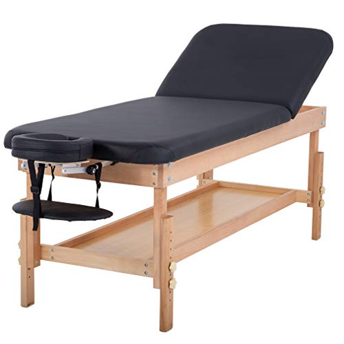 Stationary Massage Table Massage Bed Spa Bed 74″ Long 28″Wide Height Adjustable Massage Table Memory Foam Layer PU Massage Bed Profession Heavy Duty Spa Bed Facial Cradle Salon Bed