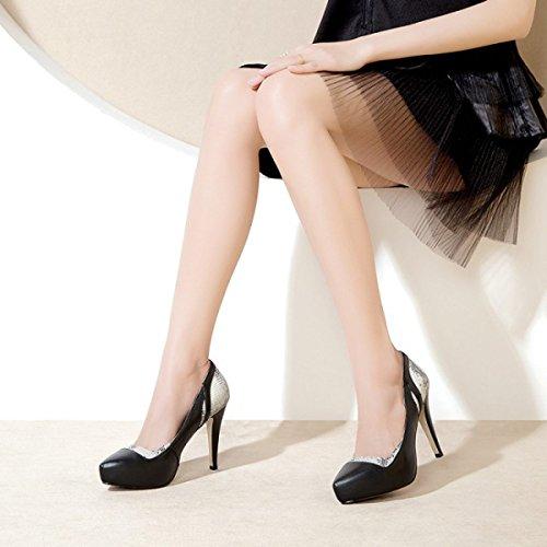 Frauen Leder Plattform Schuhe Mit Hohen Absätzen Mode Farbabstimmung Flach Frühling Schuhe Stiletto Kleid Pumpen Für Formale Hochzeit Patry Black