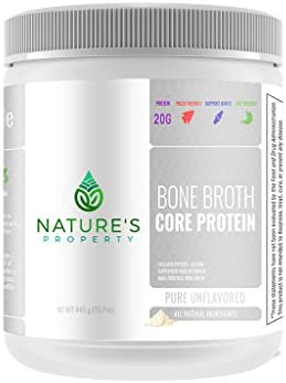 Nature s Property Bone Broth Core Protein – Pure Unflavored 20 Servings Vital Collagen Peptides Gelatin Gluten Dairy, Egg Nut Free Bone Broth Protein Powder Ancient Superfood Nutrition