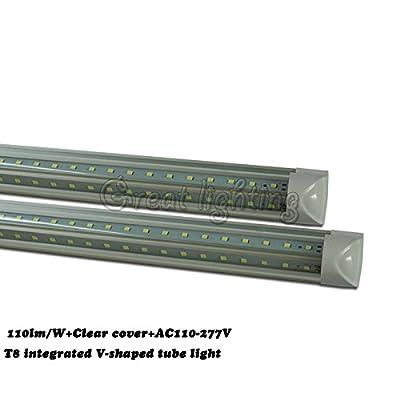"15PACK 110lm/w T8 v-shaped led tube light AC110-277V T8 LED Shop Light Tube,6500K(White)clear cover Double strip 170°Beam Angle integrated Lighting-Fixtures 8ft 48W 60W 96"" T8 tube lamp lighting"