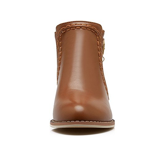 Toe Heel Mini Agoolar Women Solid Round Zipper Brown Pu Boots OnAtOB4
