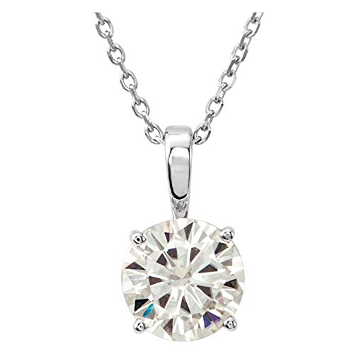 (14k White Gold Created Colorless Moissanite 5.5mm Polished Colorless Created Moissanite Necklace)