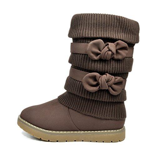 Dream Pairs KLOVE Girls Knit Sweater Winter Fur Kids Boots Brown Size 11