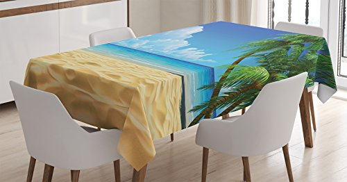 Ambesonne Ocean Tablecloth, Palm Tree Leaves in The Tropical Sand Beach Sea Landscape Graphic Print, Rectangular Table Cover for Dining Room Kitchen Decor, 60