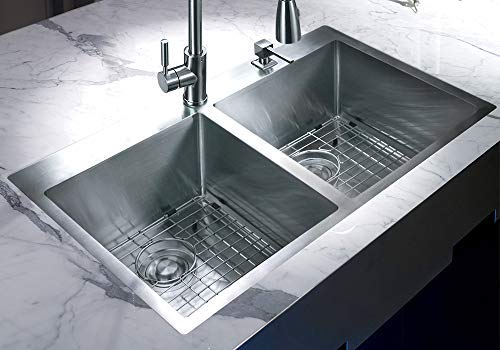 MOWA HTD33DE Upgraded Perfect Drainage Handmade 33'' 16 Gauge Stainless Steel Topmount 50/50 Double Bowl Kitchen Sink, Modern Tight-Radius Style & Commercial Deep Basin, w/Drain Set + Soap Dispenser by MOWA (Image #1)
