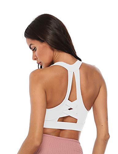 Women High Impact Padded Support Strappy Active Workout Running Gym Crossover Sports Bra ... (White, M)