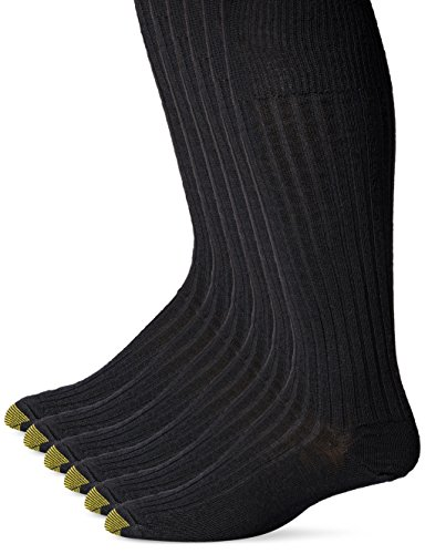 Gold Toe Men's Windsor Wool Over the Calf Dress Sock, Black, 3-Pack , Size 10-13 /Shoe Size 6-12.5
