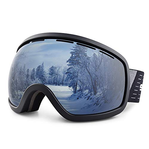 Snowledge Ski Snowboard Goggles with UV400 Protection, OTG Skiing Snowboarding Goggles of Double Spherical Lens with Anti-Fog Ski Goggles for Men, Women, Helmet Compatible Snow Goggles