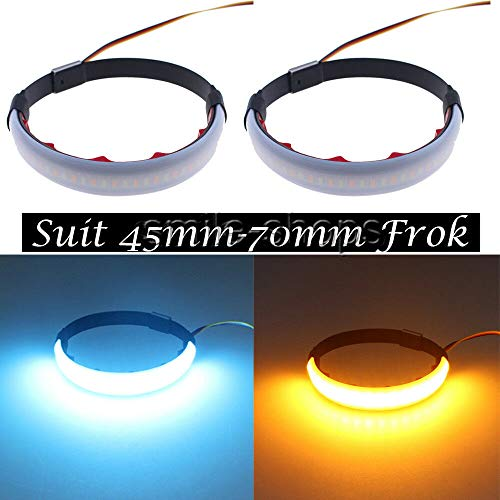 FidgetKute 2X Switchback Amber Blue LED Fork Turn Signal for Car Motorcycle DRL Light Strip