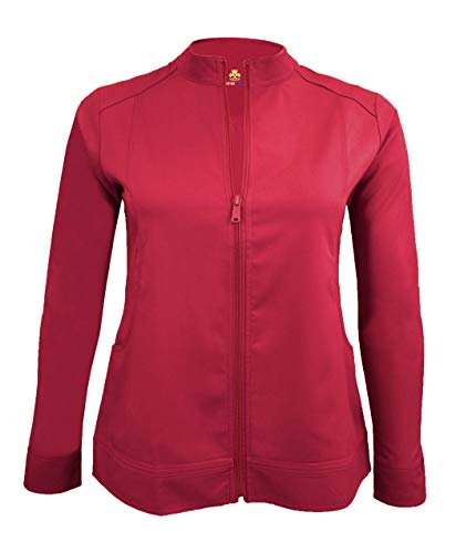 (Natural Uniforms Women's Ultra Soft Front Zip Warm-Up Scrub Jacket (Red, X-Large))
