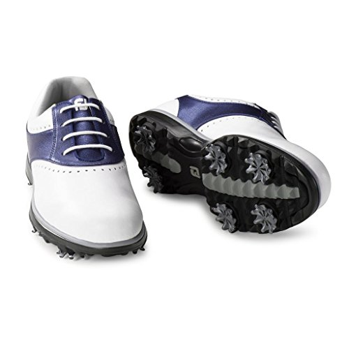 FootJoy Women's eMerge Spiked Golf Shoes, Close-out (7 B(M) US, White/Navy Linen 93900) by FootJoy (Image #5)