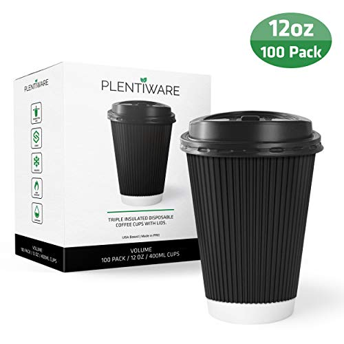 Coffee Cups with Lids | Disposable Insulated To Go Paper Coffee Cups for hot beverages | 12 oz perfect for cafe and bulk | 100 Pack - Black by Plentiware